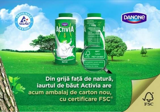 vizual Activia in ambalaj certificat FSC