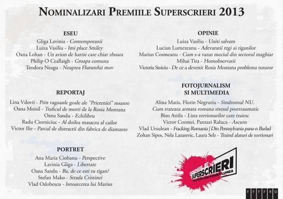 NOMINALIZARI Superscrieri 2013