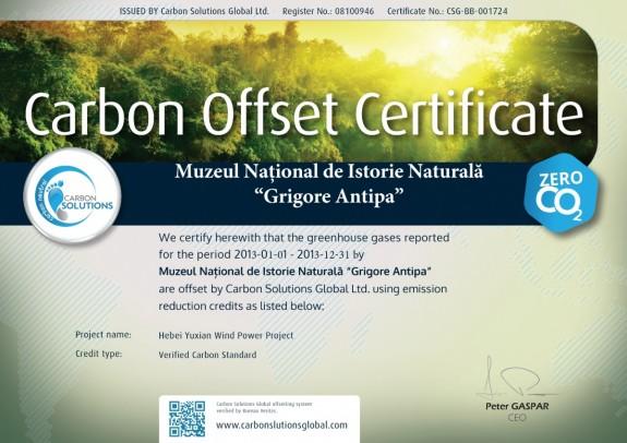 Certificat Muzeul National de Istorie Naturala Grigore Antipa 2014