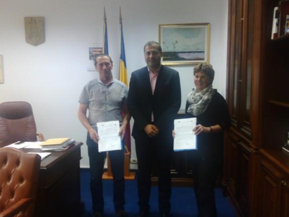 Semnare parteneriat (Ivan Patzaichin, Florin Jianu, Sabine Meigel)