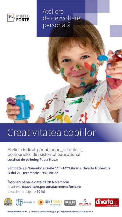 Afis atelier Creativitatea copiilor, 29 noiembrie 2014