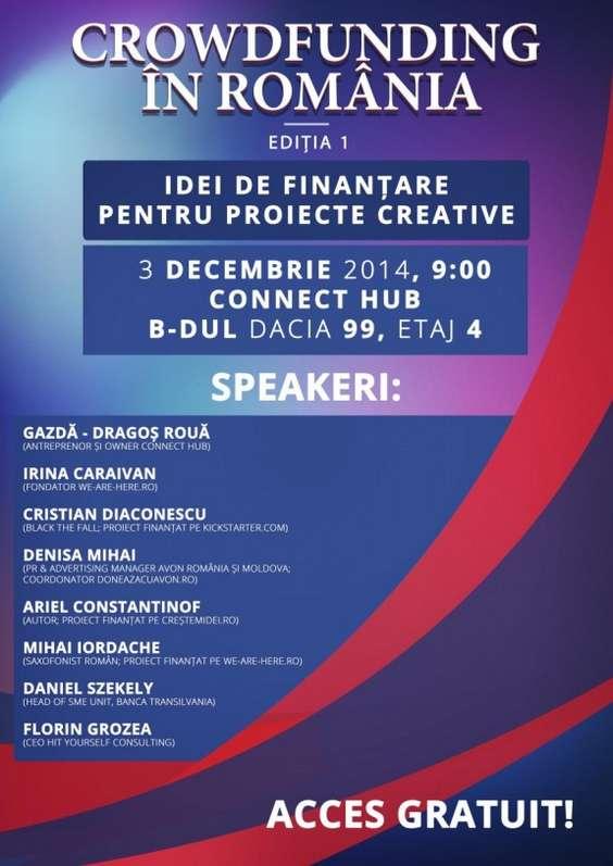 Afis conferinta Crowdfunding in Romania