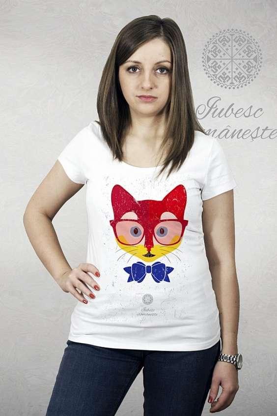 Tricou Pisica tricolora model