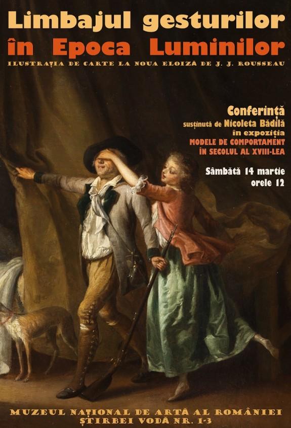 afis conferinta in expozitia ''Modele de comportament in secolul al XVIII-lea''