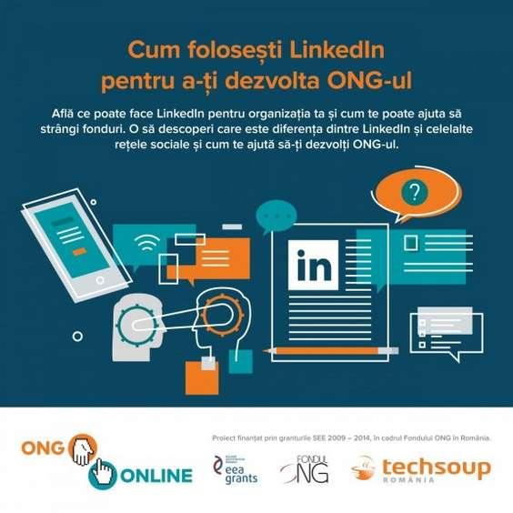 Afis webinar - LinkedIn pentru ONG-uri