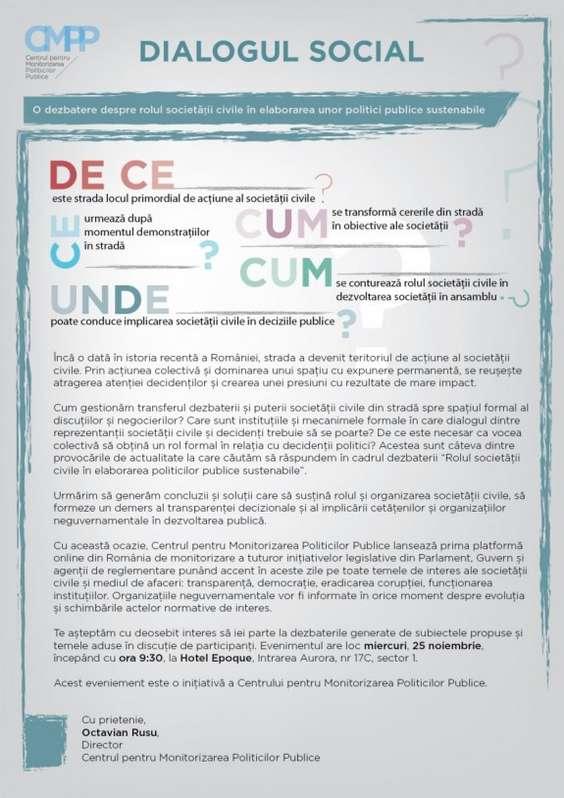Invitatie_ Dezbatere despre rolul societatii civile in elaborarea unor politici publice sustenabile