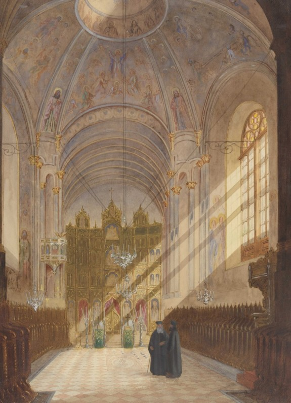 Henri Trenk, Interiorul Bisericii Sf. Spiridon Nou din Bucuresti, 1869