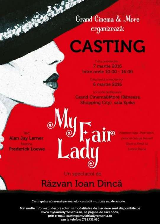 My Fair Lady. Casting solisti si actori.