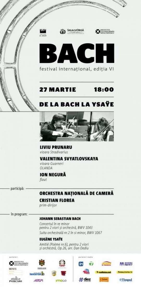 Afişul Festivalului International de Muzică Bach. Concertul de inaugurare, 27 martie