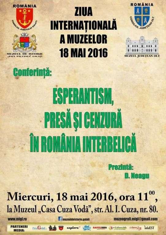 Afis 18 mai Conferinta Esperantism