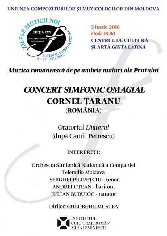 Afis concert Cornel Taranu