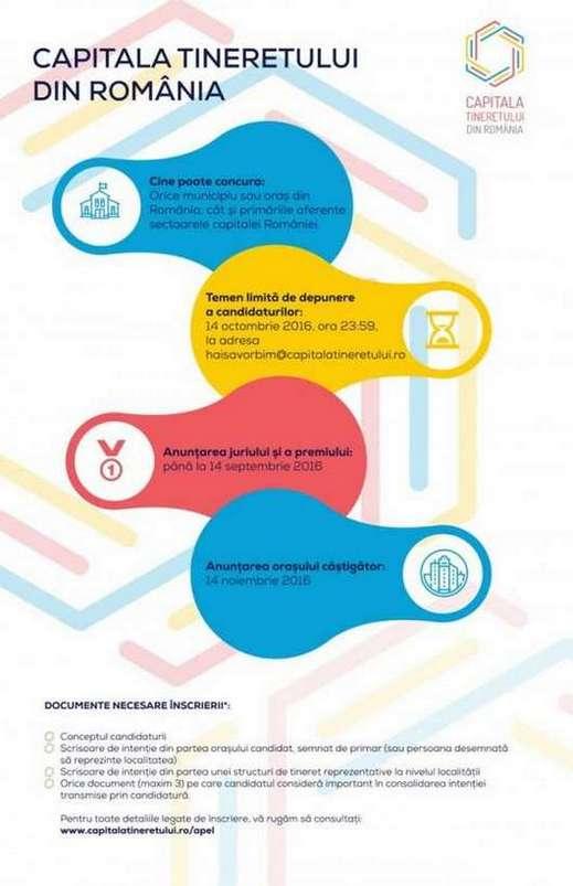 """Infografic despre depunerea candidaturilor pentru """"Capitala Tineretului din România 2017"""""""