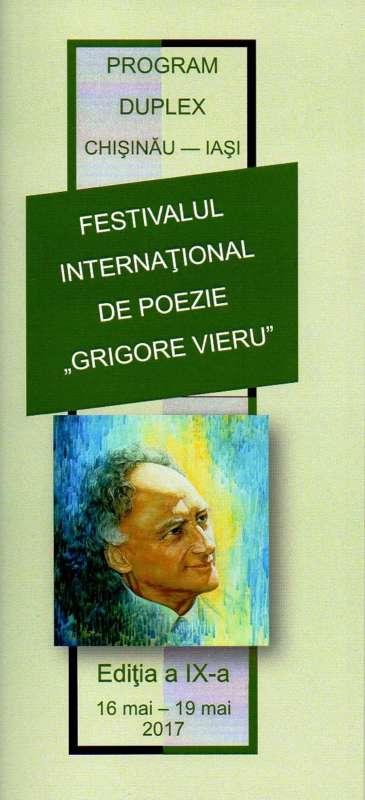Afis festival de poezie Grigore Vieru