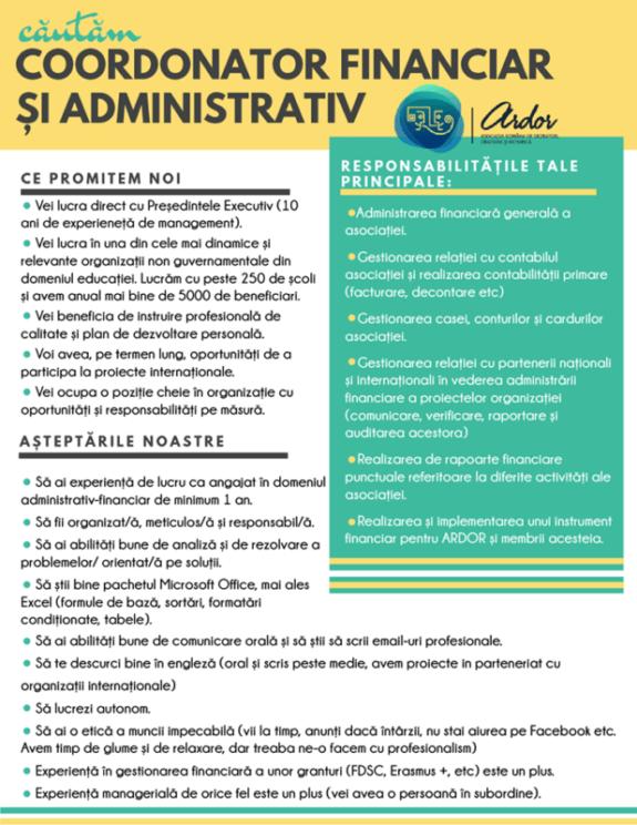 coordonator financiar si administrativ ARDOR 2