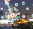 Internet of Things, Smart city  and Cyber - Physical system concept. Smart things icons mesh on double exposure of business man and city traffic night background.