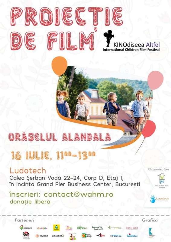 Afiș proiecție de film Orășelul Alandala București