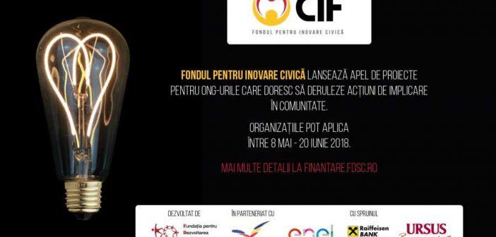 Noul apel de proiecte al Fondului pentru Inovare Civică (CIF) oferă finanțări nerambursabile pentru organizațiile neguvernamentale care doresc să deruleze acțiuni de implicare în comunitate