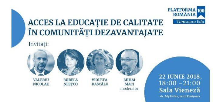 Timișoara: Acces la educație de calitate în comunități dezavantajate